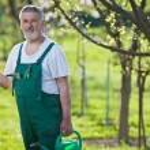 Portrait of a senior man gardening in his garden — Stock Photo #7419990