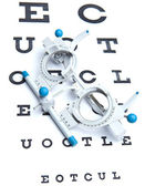 Optometry concept - sight measuring spectacles & eye chart — 图库照片
