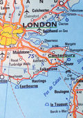 London, United Kingdom as a travel destination on a map — Stock Photo
