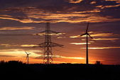 Mulini a vento all'alba. — Foto Stock