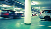 Underground parking/garage (color toned image) — Stock Photo