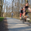 Bikers on a biking path in a park (motion blur is used to convey — Stock Photo #7420428