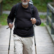 Active handsome senior man nordic walking outdoors — Stock Photo #7421940
