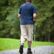 Active handsome senior man nordic walking outdoors — Stock Photo