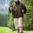 Active handsome senior man nordic walking outdoors — Stock Photo #7422073