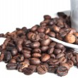Coffee beans and cup isolated over white - Stock Photo