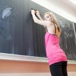 Pretty young college student erasing the chalkboard/blackboard — 图库照片