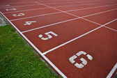 Sport grounds concept - Athletics Track Lane Numbers — Stock Photo