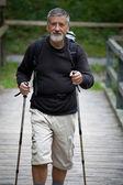 Attivo bell'uomo anziano camminata nordica all'aperto — Foto Stock