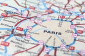 Paris as a travel destination on a map — Stock Photo