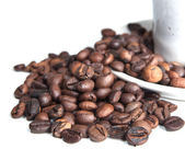 Coffee beans and cup isolated over white — Stock Photo