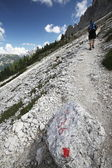 Hiking - going uphill on a hking trail in Dolomites — Stock Photo