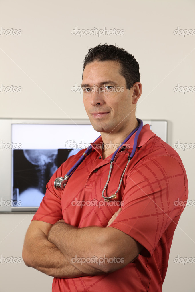 Chiropractor with xray  Stock Photo #7459105