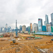 Construction site for new highway in Hong Kong - Stock Photo