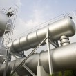 Industrial machines, pipes, tubes, machinery and steam turbine i — Stock Photo