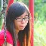 Asian woman in a sad mood — Stock Photo
