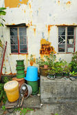 Chinese home with vintage wall, window and garden — Stock Photo