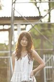 Asian woman thinking oneself — Stock Photo