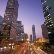 Traffic in Hong Kong downtown at sunset time — Stock Photo