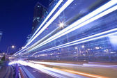 Light trails in Hong Kong highway at night — Stock Photo