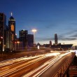 Hong Kong busy traffic at sunset time — Stock Photo