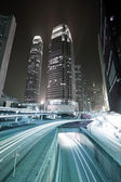 Busy traffic in downtown of Hong Kong, low saturation image. — Stock Photo