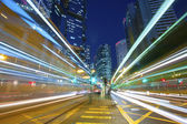 Busy traffic in city at night - Pearl of the East: Hong Kong. — Stock Photo