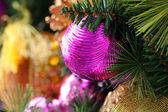 Christmas decorations background with copyspace — Stock Photo