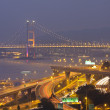 Tsing Ma Bridge and highway at sunset, show the modern landscape — Stock Photo