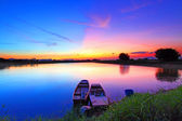 Sunset over the pond — Stock Photo