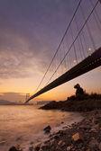 Tsing ma bridge günbatımı zaman — Stok fotoğraf