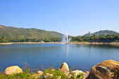 Lake under blue sky — Stock Photo