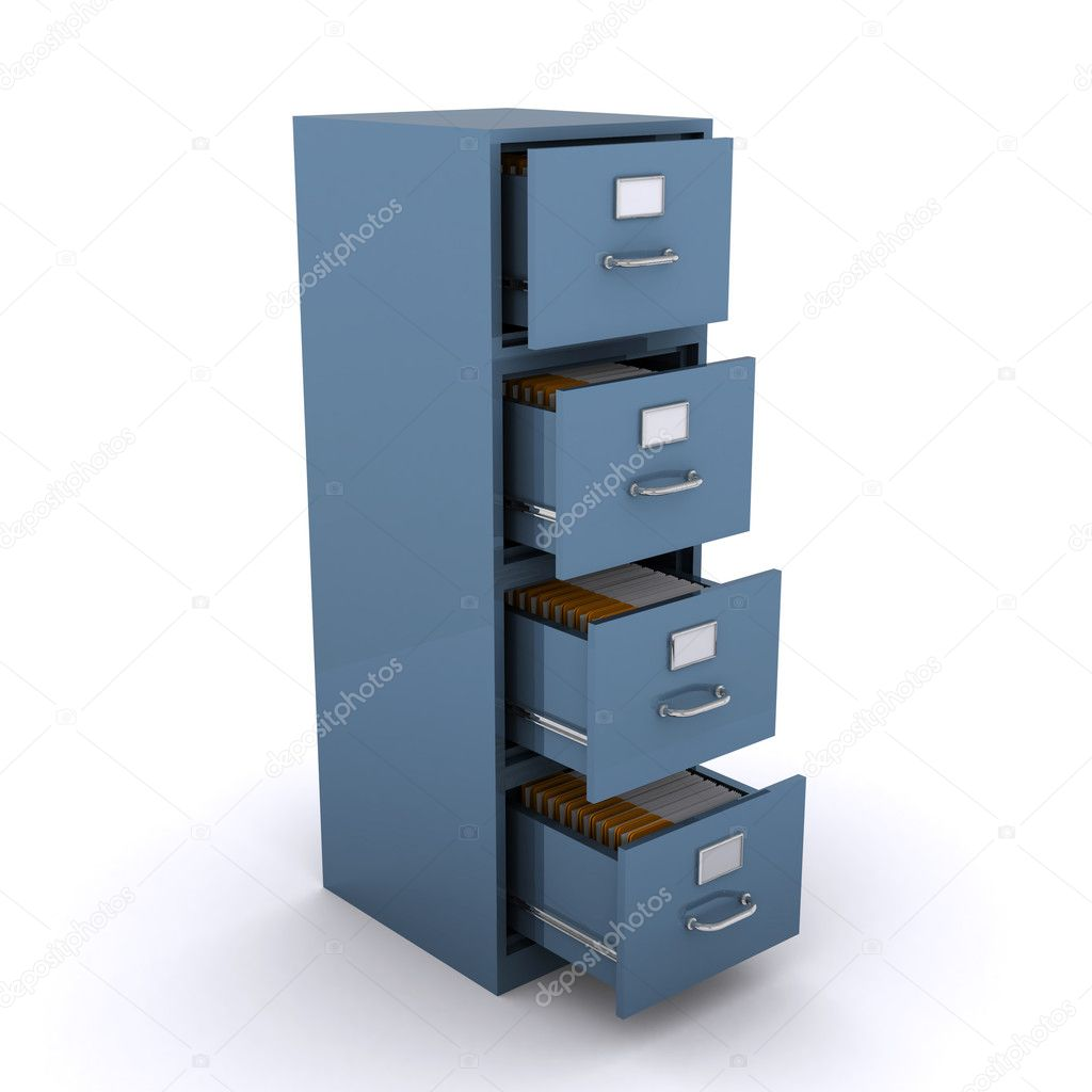File cabinet  with open draws full of files (3d render) — Stock Photo #6750965