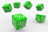 Flying green cubes with percents — Stock Photo
