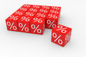 Red cubes with percents — Stock Photo
