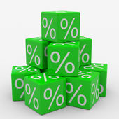 Pyramid of green cubes with percents — Stock Photo