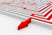 迷宫的红色路径。正确的方法. — 图库照片