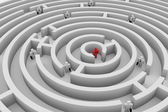 Into the round maze. Search of solution. Teamwork. — Stock Photo