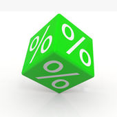 Green cube with percents — Stock Photo