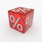 Red cube with percents — Stock Photo