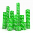 Stacks of green cubes with percents — Stock Photo #6836129