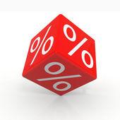 Cubo vermelho com porcentagens — Foto Stock