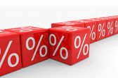 Row of red cubes with percents — Stock Photo