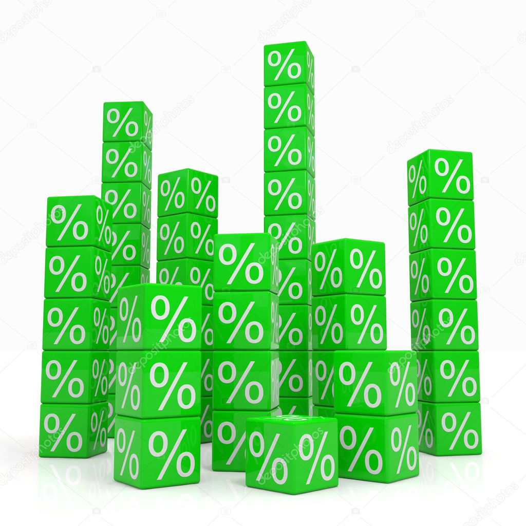 Stacks of green cubes with percents. Computer generated image.  Stock Photo #6836129