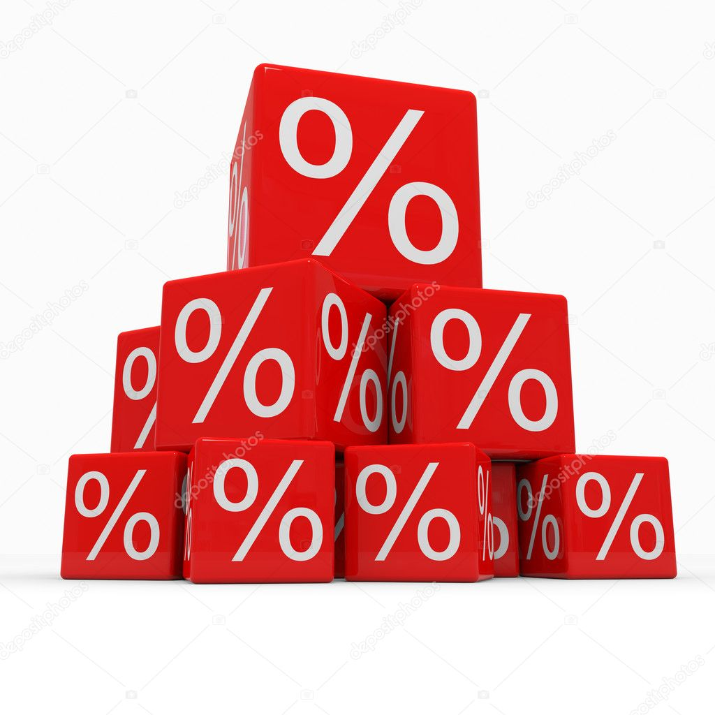 Pyramid of red cubes with percents. Computer generated image. — Stock Photo #6836180