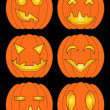 Set of pumpkins in color — Stock Vector