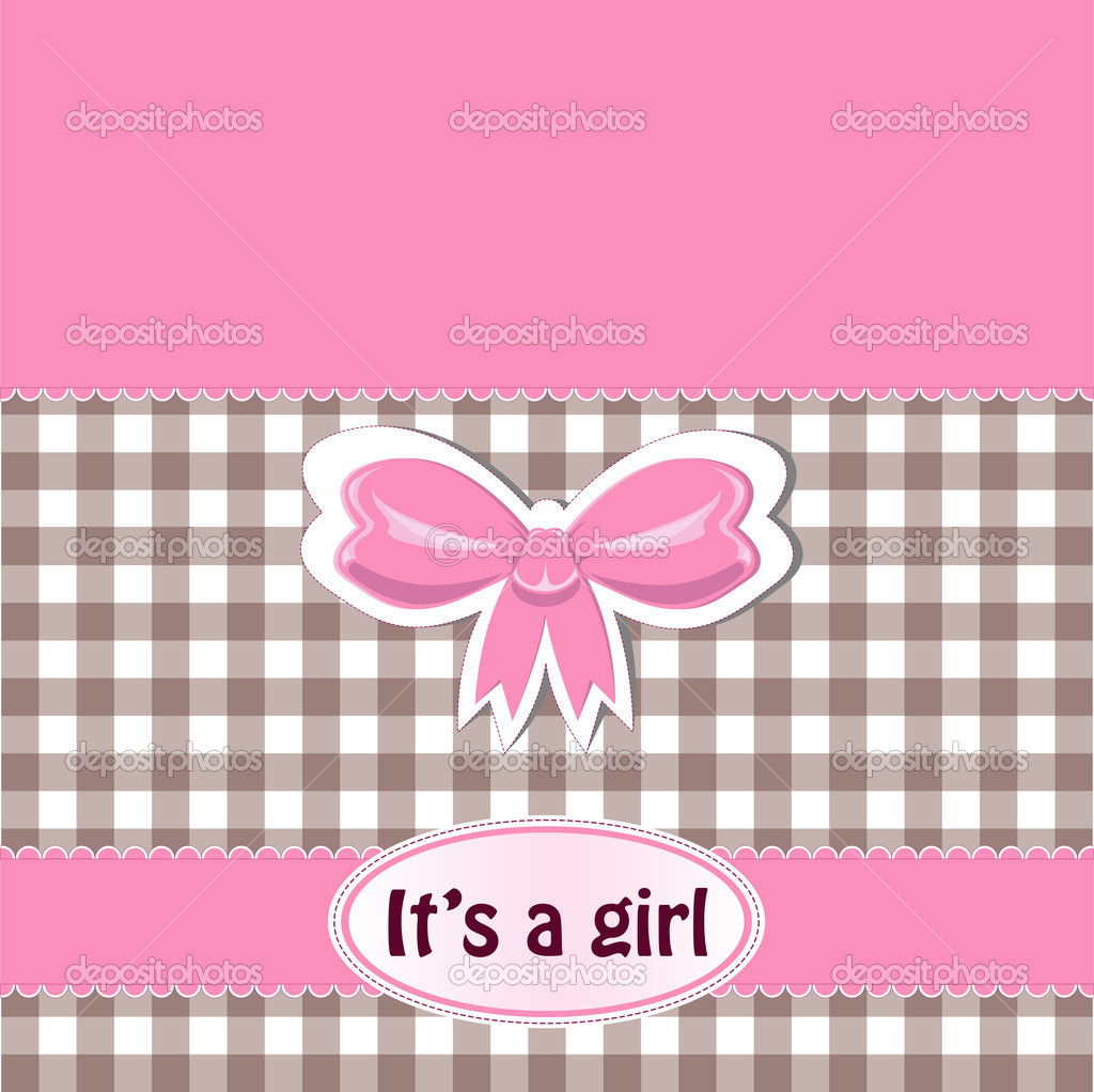 Baby girl announcement card  Stock Vector #7307150