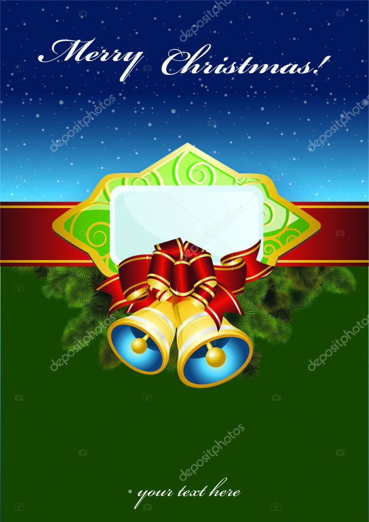 Christmas background with hand bells — Stock Vector #7716157