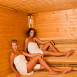Sauna two women relaxing sitting wrapped towel — Stock Photo #6812678