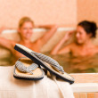 Relax spa pool two naked women inside — Stock Photo